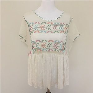 Free People Flowy Embroidered Peasant Top | Small